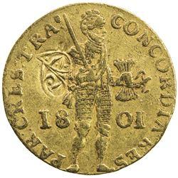 UTRECHT: Batavian Republic, 1796-1806, AV ducat (dukaat) (3.51g), 1801. F-VF