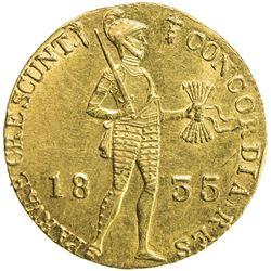 NETHERLANDS: Willem I, 1815-1840, AV ducat (dukaat) (3.44g), 1835. AU