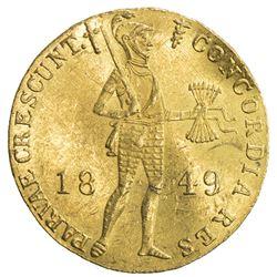 NETHERLANDS: AV ducat (3.47g), 1849, KM-83.1, contemporary Russian counterfeit, EF
