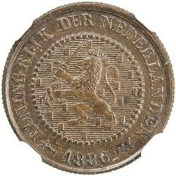 NETHERLANDS: Willem III, 1849-1890, AE 1/2 cent, 1886. NGC MS61