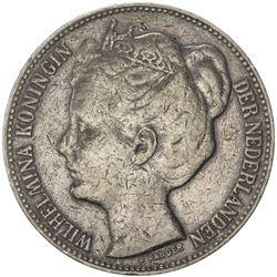 NETHERLANDS: Wilhelmina, 1890-1948, AR 2 1/2 gulden, 1898. F