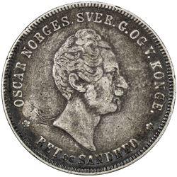 NORWAY: Oscar I, 1844-1859, AR speciedaler, 1855. F