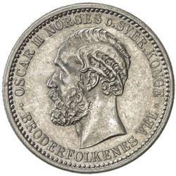 NORWAY: Oscar II, 1872-1905, AR 50 ore, 1901. AU