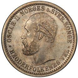 NORWAY: Oscar II, 1872-1905, AR 50 ore, 1902. PCGS MS64
