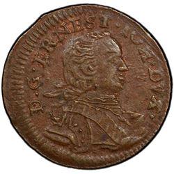 COURLAND: Ernst Johann von Biron, 2nd reign, 1763-1769, AE solidus, 1764. PCGS AU58