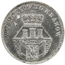 KRAKOW: Free City of Krakow, AR 10 groszy, 1835. EF
