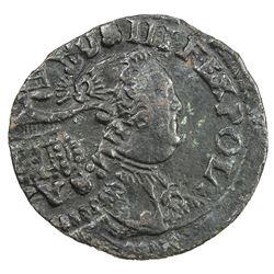 POLAND: Augustus III, 1734-1763, AE solidus, 17xx. VF