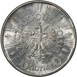 POLAND: Republic, AR 10 zlotych, 1939(w). PCGS MS63