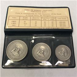PORTUGAL: Republic, 3-coin matte proof set, 1960. PF