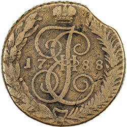 RUSSIA: Catherine II, the Great, 1762-1796, AE 5 kopeks, Feodosia, 1788. VG-F