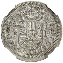 SPAIN: Felipe V, 1700-1746, AR real, Segovia, 1721. NGC UNC