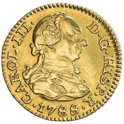 SPAIN: Carlos III, 1759-1788, AV 1/2 escudo (1.71g), Madrid, 1788-M. EF