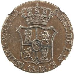 CATALONIA: Isabel II, 1833-1868, AE 6 quartos, 1843. NGC AU55