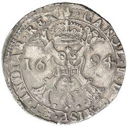 SPANISH NETHERLANDS: Charles II, 1665-1700, AR patagon (28.17g), Antwerp, 1694. EF