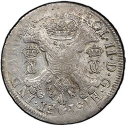 SPANISH NETHERLANDS: Charles II, 1665-1700, AR patagon, Brabant, 1695. PCGS MS61