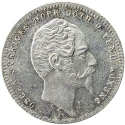 SWEDEN: Oscar I, 1844-1859, AR 50 ore, 1857. UNC