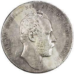 SWEDEN: Karl XV, 1859-1872, AR 4 riksdaler riksmynt, 1863. VF-EF