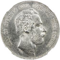 SWEDEN: Karl XV, 1859-1872, AR 4 riksdaler riksmynt, 1871. NGC MS63