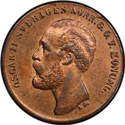 SWEDEN: Oscar II, 1872-1907, AE ore, 1873. PCGS MS64