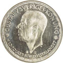 SWEDEN: Gustav V, 1907-1950, AR 2 kronor, 1950. NGC MS67