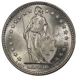 SWITZERLAND: Confederation, AR 2 francs, 1913-B. PCGS MS63