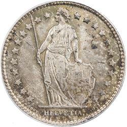 SWITZERLAND: AR franc, 1910-B. PCGS MS65