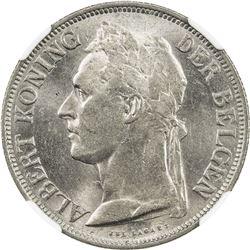 BELGIAN CONGO: Albert I, 1909-1934, 1 franc, 1929. NGC MS63