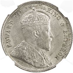 EAST AFRICA & UGANDA: Edward VII, 1901-1910, AR 50 cents, 1906. NGC MS63