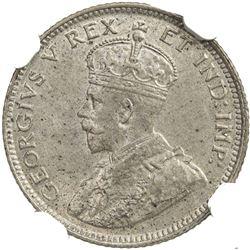 EAST AFRICA & UGANDA: George V, 1910-1936, AR 25 cents, 1912. NGC MS61