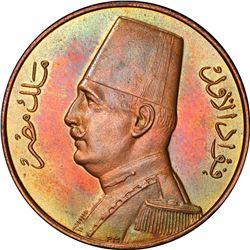 EGYPT: Fuad I, as King, 1922-1936, AE millieme, 1932-H/AH1351. PCGS SP65