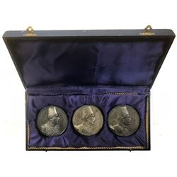 EGYPT: Fuad I, as King, 1922-1936, SET of 3 extremely rare silver Art Deco style medals + plush case