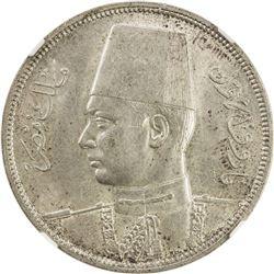 EGYPT: Farouk, 1936-1952, AR 10 qirsh, 1937//AH1356. NGC MS62