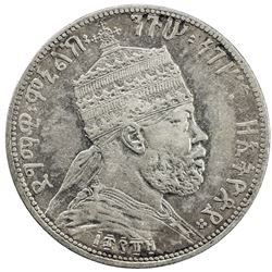 ETHIOPIA: Menelik II, 1889-1913, AR 1/2 birr, EE1889 (1897). VF-EF