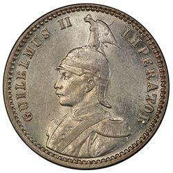 GERMAN EAST AFRICA: Wilhelm II, 1891-1918, AR 1/4 rupie, 1913-J. PCGS AU58