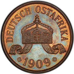 GERMAN EAST AFRICA: Wilhelm II, 1891-1918, AE 5 heller, 1909-J. PCGS PF64