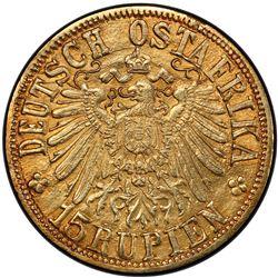 GERMAN EAST AFRICA: Wilhelm II, 1891-1918, AV 15 rupien, Tabora, 1916-T. PCGS MS61