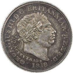 GOLD COAST: George III, 1760-1820, AR 1/2 ackey, 1818. PCGS MS63