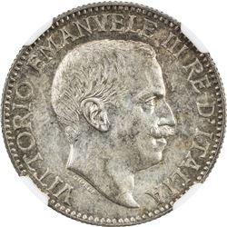 ITALIAN SOMALILAND: Vittorio Emanuele, 1900-1946, AR 1/2 rupia, 1919-R. NGC MS61