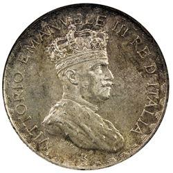 ITALIAN SOMALILAND: Vittorio Emanuele, 1900-1946, AR 5 lire, 1925-R. NGC MS63