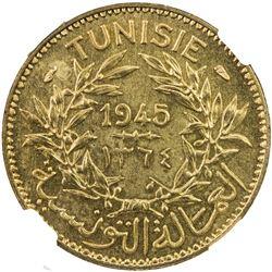TUNISIA: Muhammad VIII, 1943-1956, franc, 1945/AH1364. NGC MS64