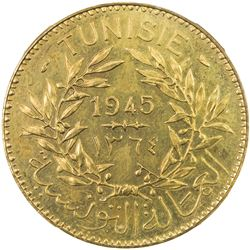 TUNISIA: Muhammad VIII, 1943-1956, 2 francs, 1945/AH1364. NGC MS65