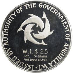 ANGUILLA: British Territory, AR 25 dollars, 1968. PF