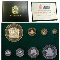ANGUILLA: British Territory, 8-coin proof set, 1970. PF
