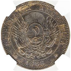 ARGENTINA: AE 2 centavos, 1888. NGC AU53