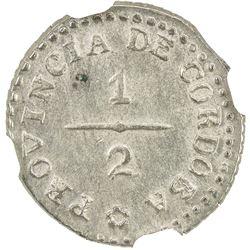 CORDOBA: Provincial Rule, 1820-1852, AR 1/2 real, 1854. NGC MS62