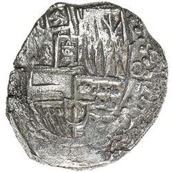 BOLIVIA: Felipe III, 1598-1621, AR 8 reales cob (26.26g), ND [1605-21]. VF
