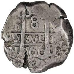 BOLIVIA: Carlos III, 1759-1788, AR 8 reales cob (26.56g), [1]766-P. VF
