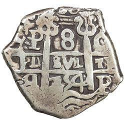BOLIVIA: Carlos III, 1759-1788, AR 8 reales (26.90g), [1]754-P. F-VF