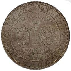 BRAZIL: AR 4000 reis, 1900. NGC MS62