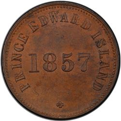 PRINCE EDWARD ISLAND: AE 1/2 penny token, 1857. PCGS MS63